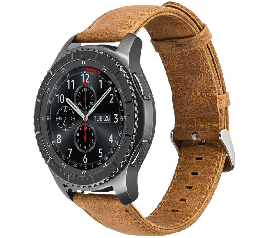 Strap-it® Samsung Galaxy Watch leren band 45mm / 46mm (bruin)