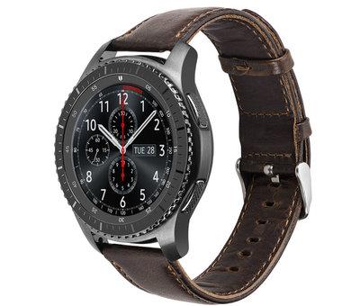 Strap-it® Strap-it® Samsung Galaxy Watch leren band 45mm / 46mm (donkerbruin)