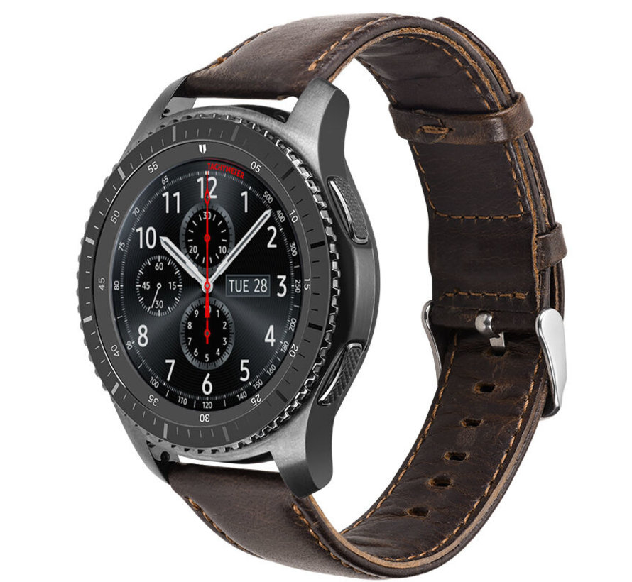 Strap-it® Samsung Galaxy Watch leren band 45mm / 46mm (donkerbruin)