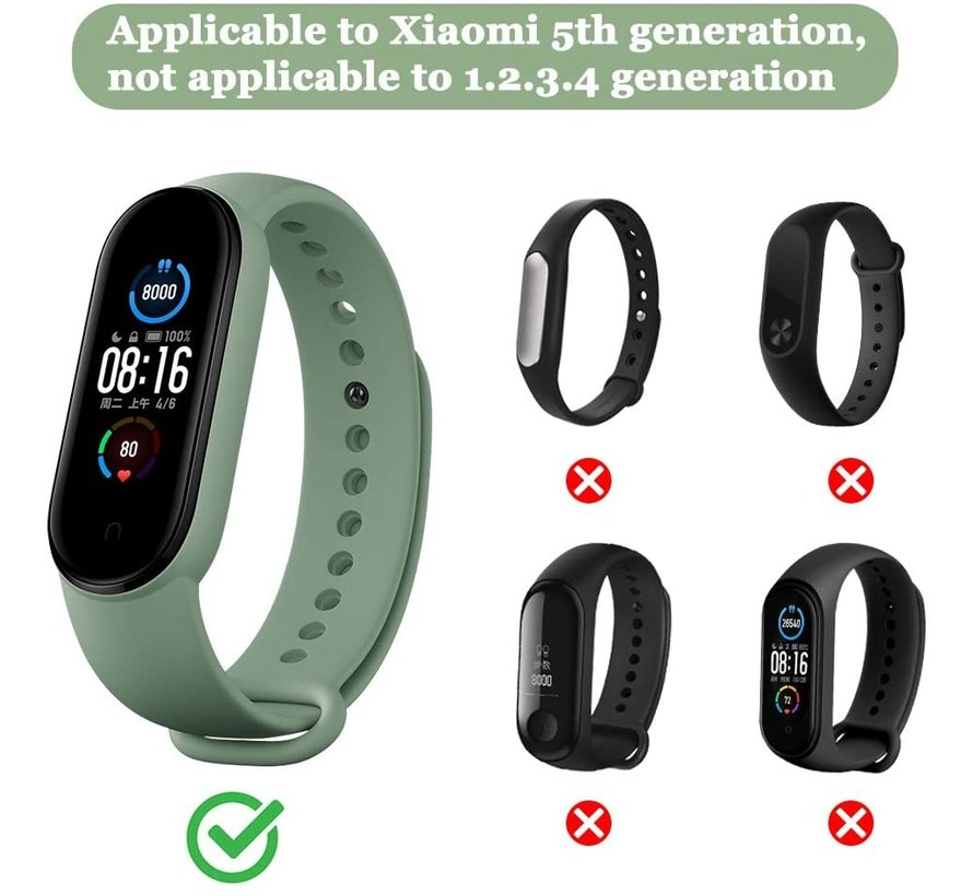 Strap-it® Xiaomi Mi band 5 nylon bandje (geel-groen)