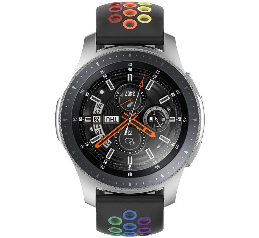 Strap-it® Samsung Galaxy Watch sport band 45mm / 46mm (zwart kleurrijk)