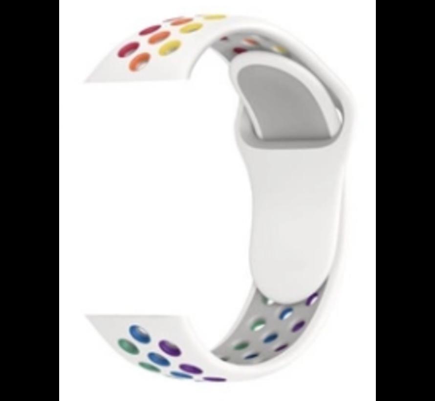 Strap-it® Apple Watch sport+ band (kleurrijk wit)