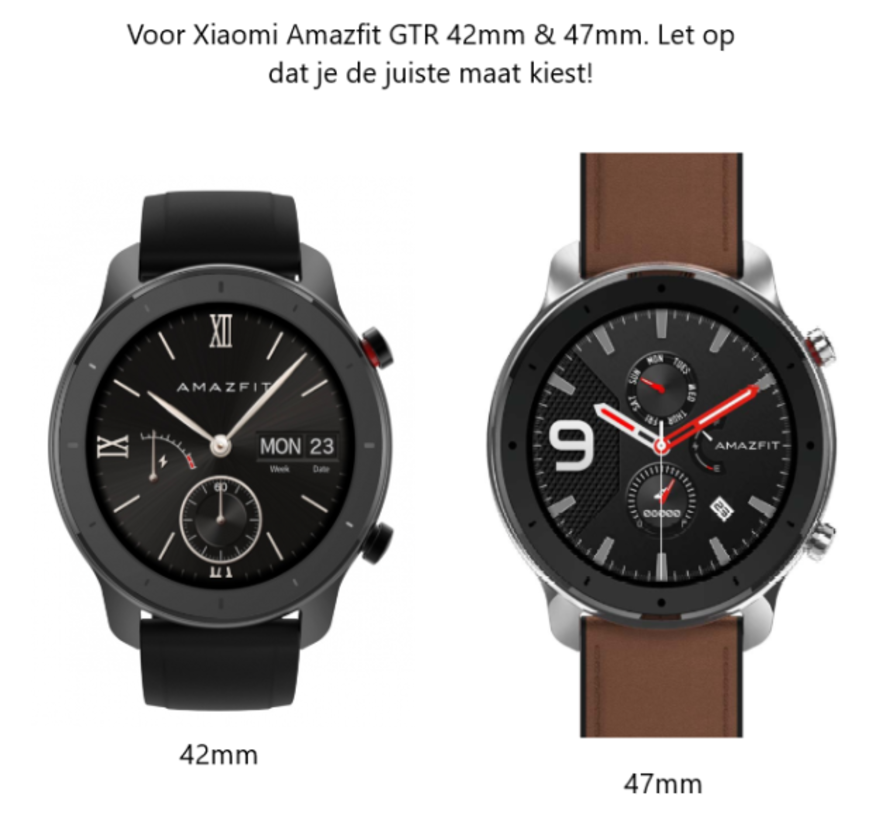 Strap-it® Xiaomi Amazfit GTR nylon band (zwart)