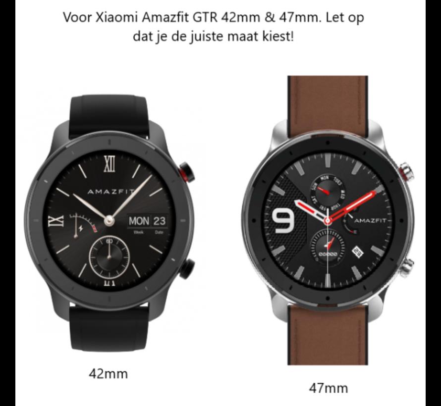 Strap-it® Xiaomi Amazfit GTR leren bandje (zwart)
