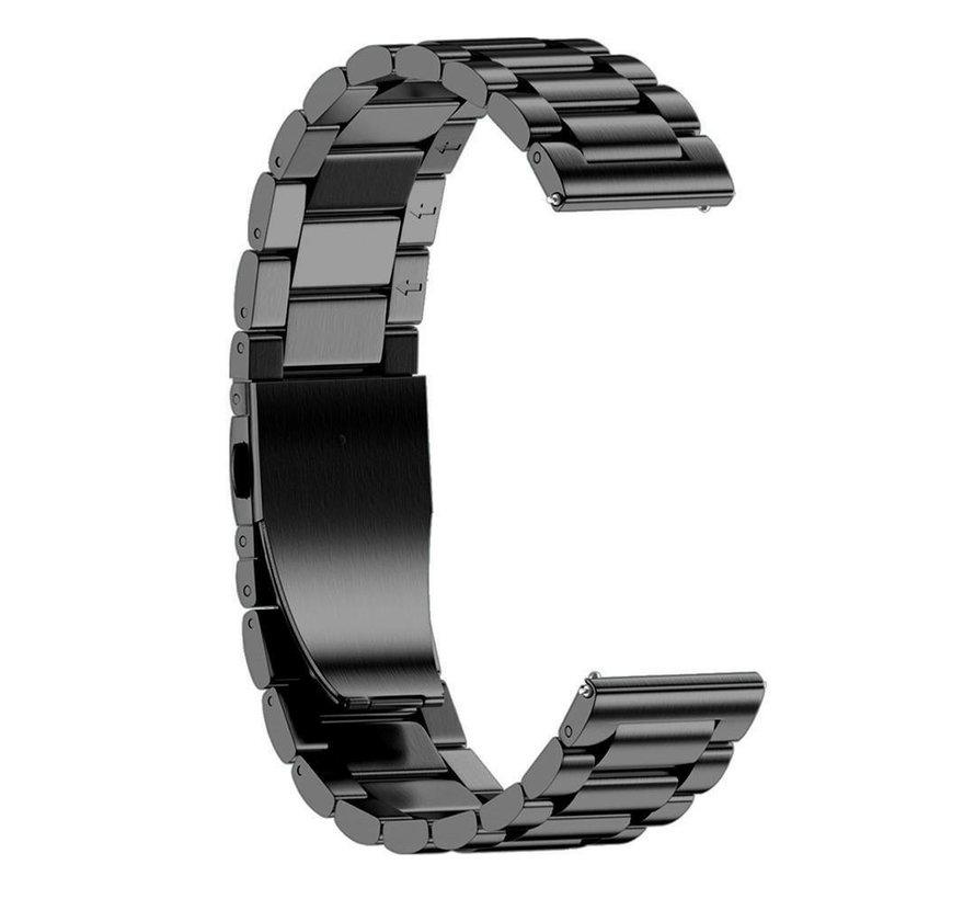 Strap-it® Stalen horlogeband 22mm - universeel - zwart