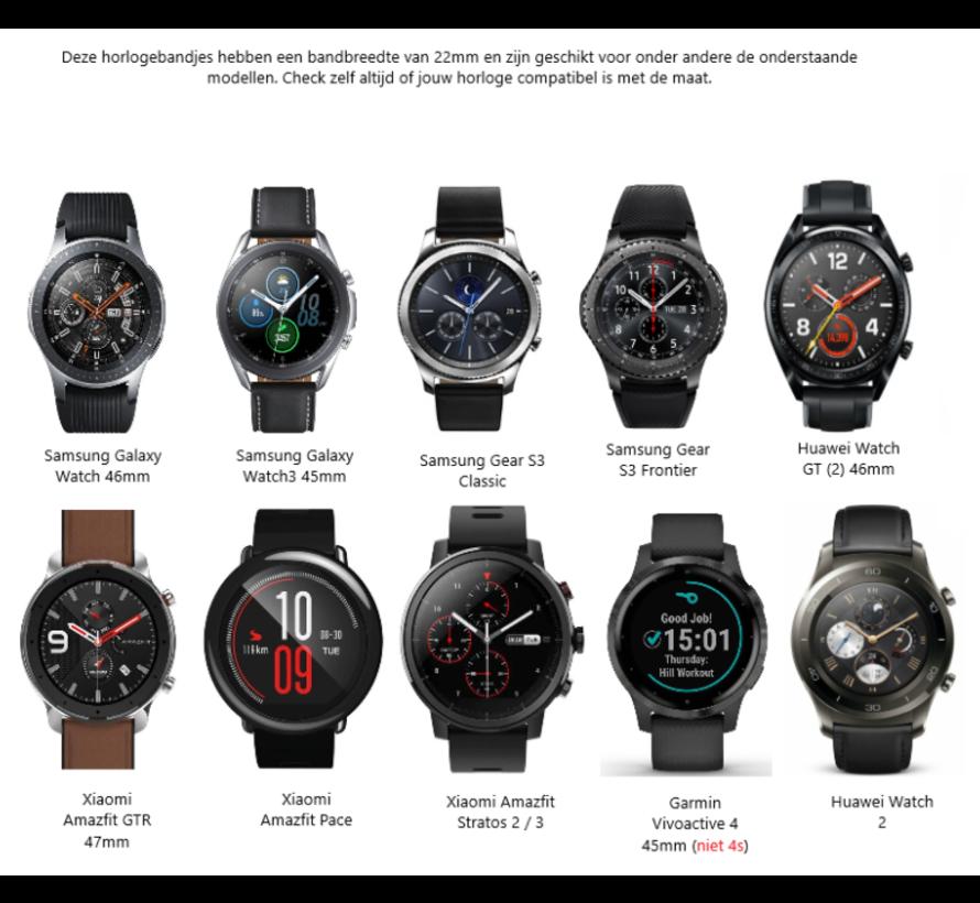Strap-it® Lederen horlogeband 22mm - universeel - zwart