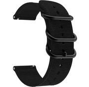 Strap-it® Nylon horlogeband met gesp 22mm - universeel - zwart