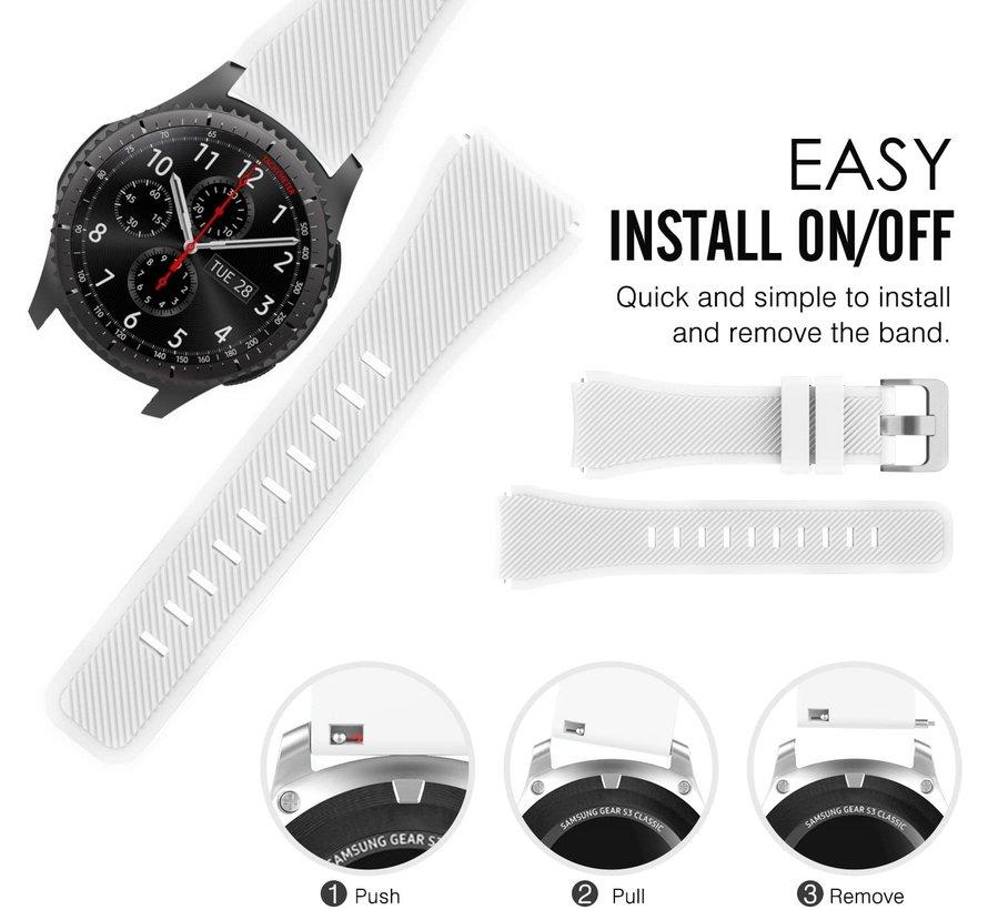 Strap-it® Siliconen horlogeband 20mm - universeel - wit