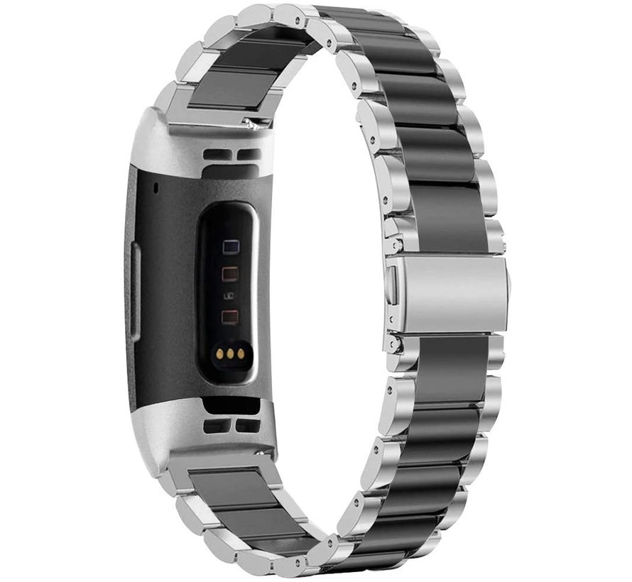 Strap-it® Fitbit Charge 3 stalen bandje (zilver/zwart)