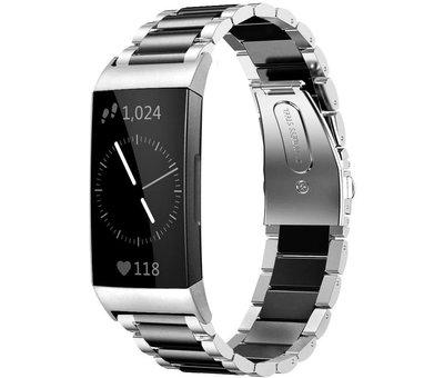 Strap-it® Strap-it® Fitbit Charge 3 stalen bandje (zilver/zwart)
