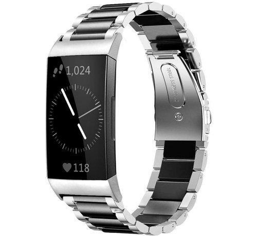 Strap-it® Strap-it® Fitbit Charge 4 stalen band (zilver/zwart)
