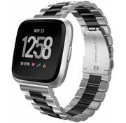 Strap-it® Fitbit Versa stalen bandje (zilver/zwart)