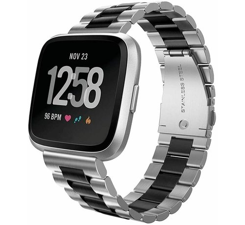 Strap-it® Strap-it® Fitbit Versa stalen bandje (zilver/zwart)