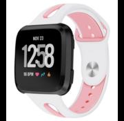 Strap-it® Fitbit Versa duo sport band (wit/roze)