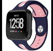 Strap-it® Fitbit Versa duo sport band (donkerblauw/roze)