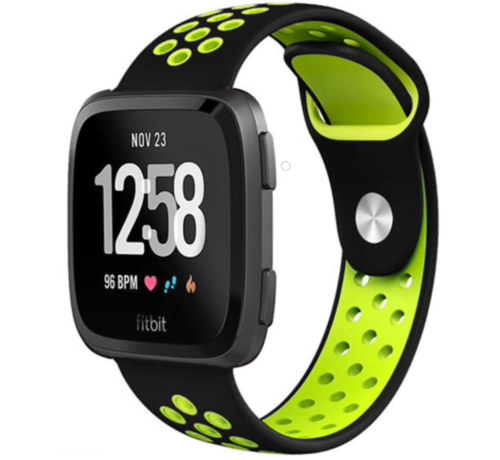 Strap-it® Strap-it® Fitbit Versa sport band (zwart/fluocent)