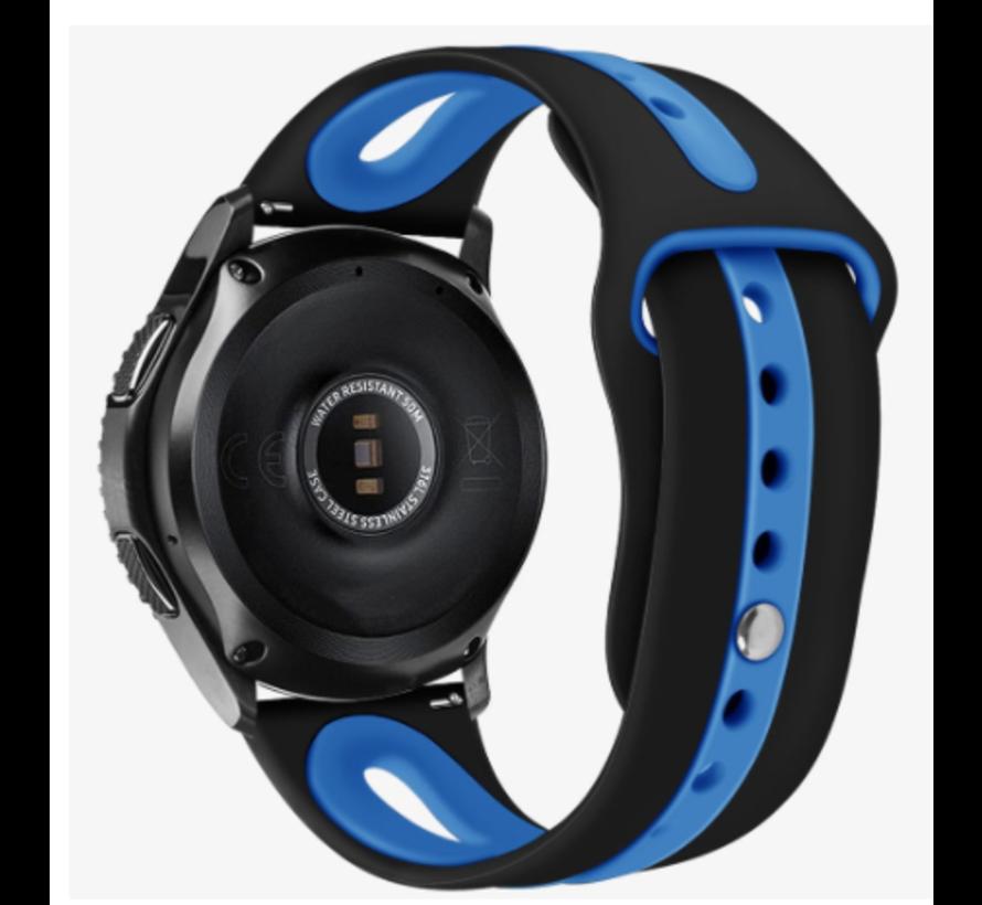 Strap-it® Samsung Galaxy Watch duo sport band 45mm / 46mm (zwart/blauw)