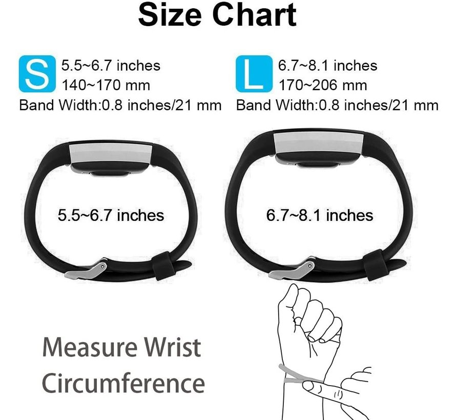 Strap-it® Fitbit Charge 2 siliconen bandje (zwart)