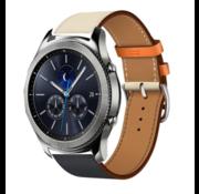 Strap-it® Samsung Gear S3 leren bandje (wit/donkerblauw)