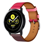 Strap-it® Samsung Galaxy Watch active leren bandje (knalroze/roodbruin)