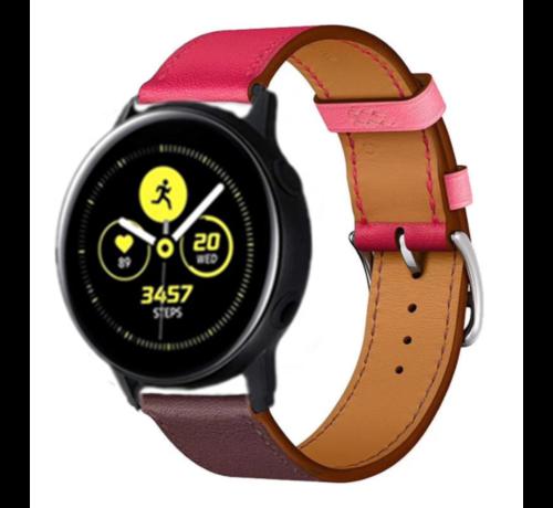 Strap-it® Strap-it® Samsung Galaxy Watch active leren bandje (knalroze/roodbruin)