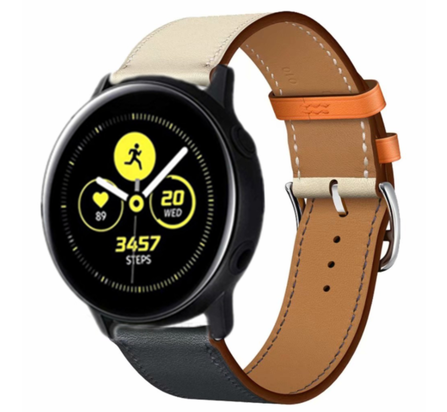 Strap-it® Samsung Galaxy Watch active leren bandje (wit/donkerblauw)