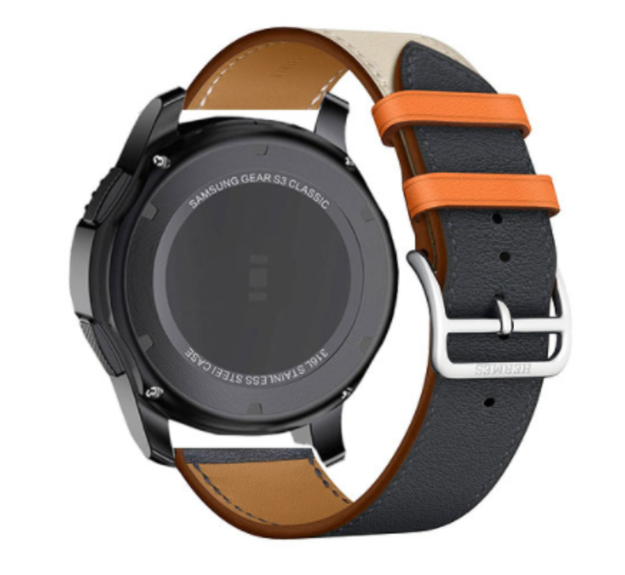 Strap-it® Samsung Galaxy Watch leren band 41mm / 42mm (wit/donkerblauw)