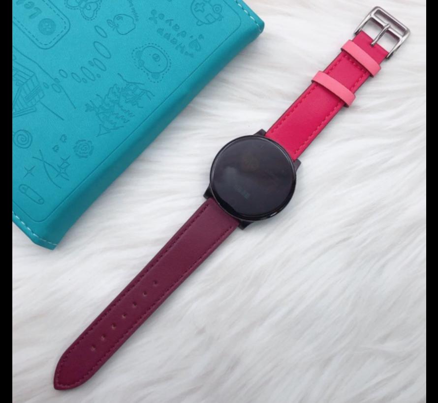 Strap-it® Samsung Galaxy Watch active leren bandje (knalroze/roodbruin)