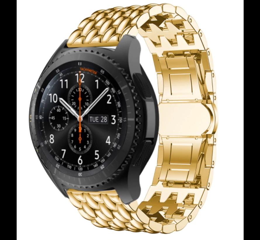 Strap-it® Samsung Galaxy Watch stalen draak band 45mm/46mm (goud)