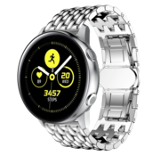 Strap-it® Samsung Galaxy Watch Active stalen draak band (zilver)