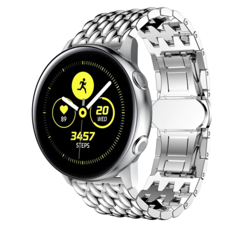Strap-it® Strap-it® Samsung Galaxy Watch Active stalen draak band (zilver)