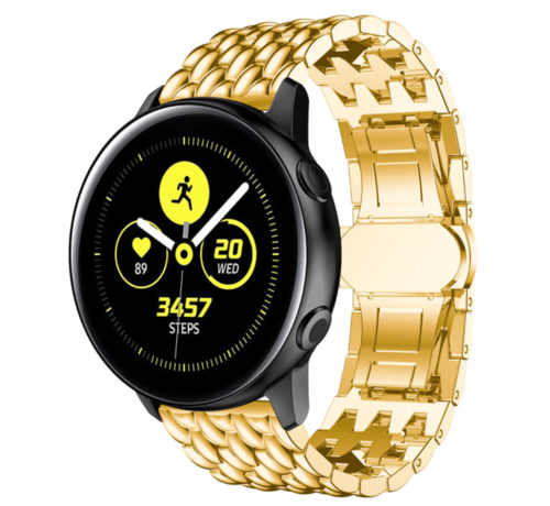 Strap-it® Strap-it® Samsung Galaxy Watch Active stalen draak band (goud)