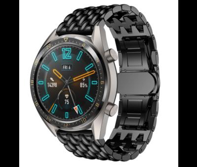 Strap-it® Strap-it® Huawei Watch GT stalen draak band (zwart)