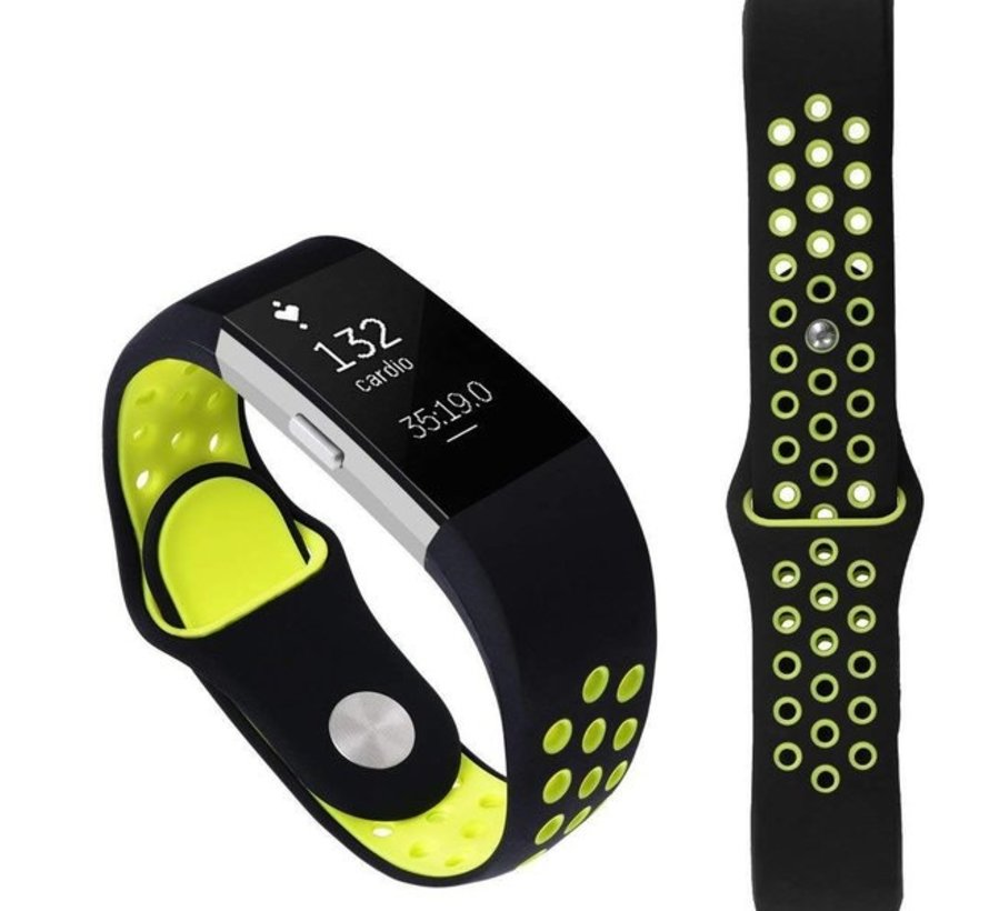 Strap-it® Fitbit Charge 2 sport band (zwart/geel)