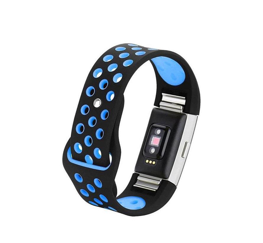 Strap-it® Fitbit Charge 2 sport band (zwart/blauw)