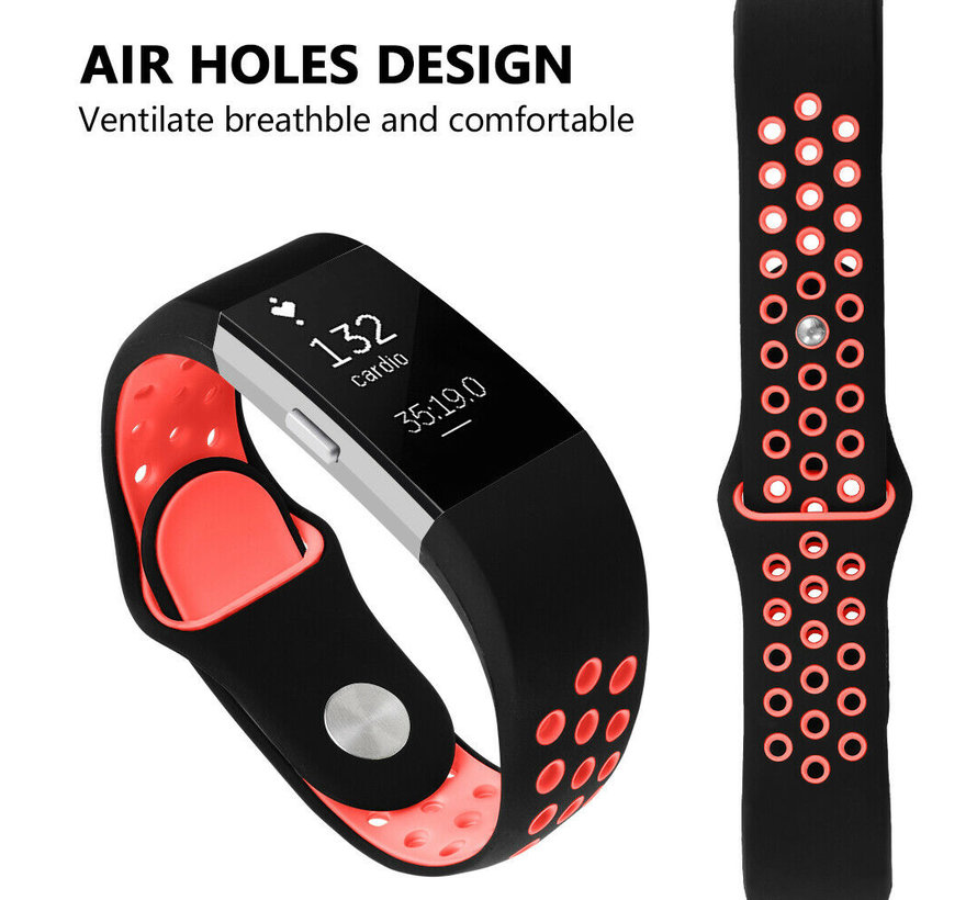Strap-it® Fitbit Charge 2 sport band (zwart/rood)