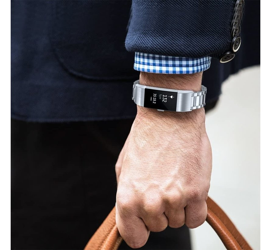 Strap-it® Fitbit Charge 2 stalen band (zilver)