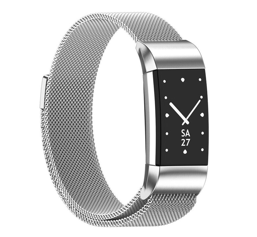 Strap-it® Fitbit Charge 2 Milanese band (zilver)