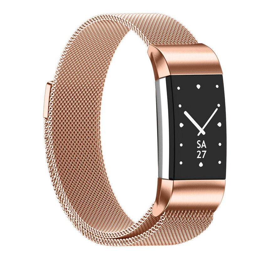 Strap-it® Fitbit Charge 2 Milanese band (rosé goud)
