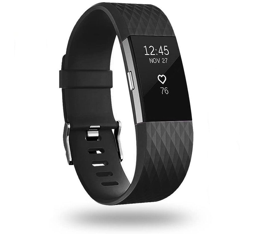 Strap-it® Fitbit Charge 2 diamant silicone band (zwart)