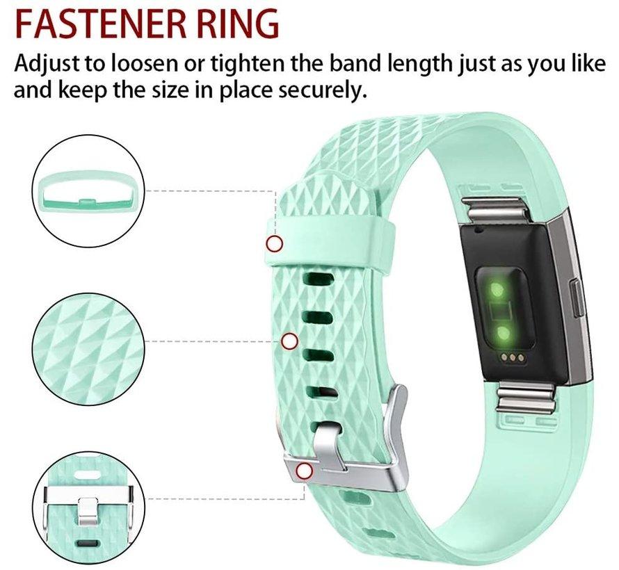 Strap-it® Fitbit Charge 2 diamant silicone band (aqua)