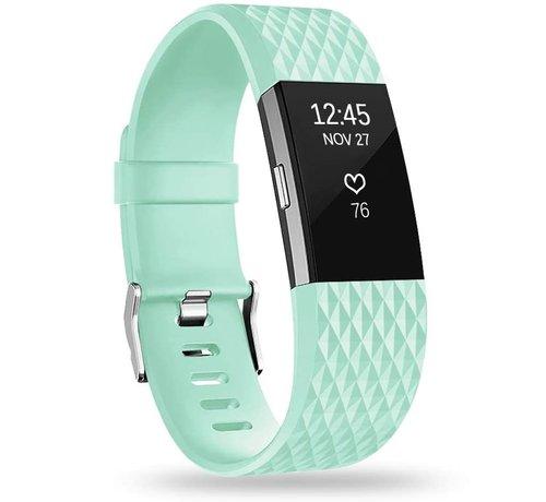 Strap-it® Strap-it® Fitbit Charge 2 diamant silicone band (aqua)