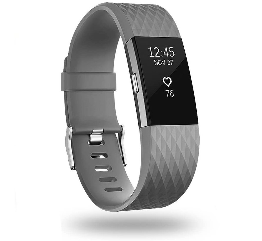 Strap-it® Fitbit Charge 2 diamant silicone band (grijs)