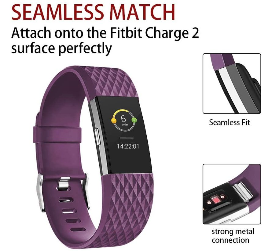 Strap-it® Fitbit Charge 2 diamant silicone band (paars)