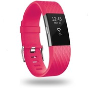 Strap-it® Fitbit Charge 2 diamant silicone band (knalroze)