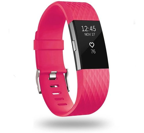Strap-it® Strap-it® Fitbit Charge 2 diamant silicone band (knalroze)