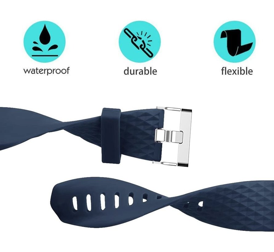Strap-it® Fitbit Charge 2 diamant silicone band (donkerblauw)