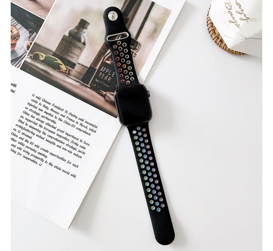 Strap-it® Apple Watch sport+ band (kleurrijk zwart)