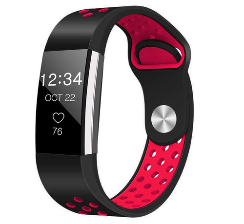 Strap-it® Strap-it® Fitbit Charge 2 sport band (zwart/rood)