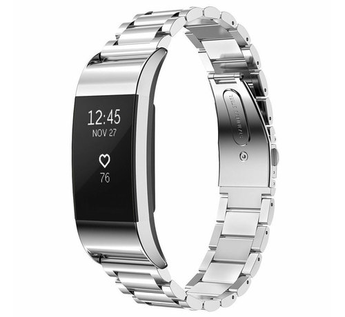 Strap-it® Strap-it® Fitbit Charge 2 stalen band (zilver)